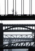Telephoto view of the bridges crossing between Newcastle and Gateshead