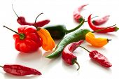 mix of fresh colorful hot chili peppers