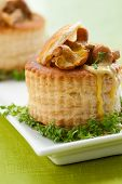 vol-au-vents puff pastry cases filled with mushrooms