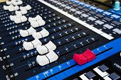 digital audio mixer with master fader in front