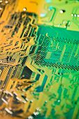 high technology circuit in green light