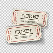 Two cinema tickets (pair). Isolated on transparent background. Raster version poster
