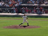 Pitcher Matt Cain Steps Into Leg To Build Power As He Steps Into A Throw
