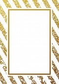 Gold glitter background. Border and gold frame. Gold lines pattern white background. Gold diagonal l poster