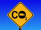 Warning CO2 emissions from trucks sign illustration