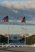 American flags and Lincoln memorial Washington DC