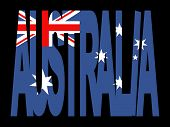 overlapping Australia text with Australian flag illustration