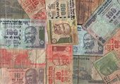 pic of mahatma gandhi  - Assorted Indian currency collage with rupee notes - JPG