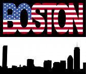 Boston skyline with Boston flag text illustration