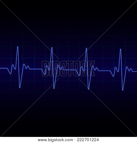 poster of Heart beats cardiogram  background. Vector illustration. Hear beat sign