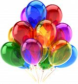foto of helium  - Balloons party happy birthday decoration multicolored translucent - JPG