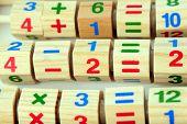 Wooden toy calculator