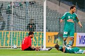 VIENNA,  AUSTRIA - JULY 26: Diego Alves Carreira (No. 1, Valencia) sits on the ground after the thir