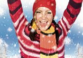 girl is happy about snow.  keyword for this collection is: snowmakers77