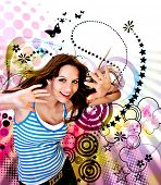 young teenage-girl dancing in front of a vector-design-background