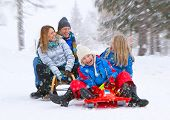 joven familia gracioso es trineo en paisaje de invierno