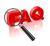 FAQ button or icon search answers to your questions, frequently asked questions in red text and magn