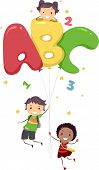 Illustration of Kids Playing with Letter-Shaped Balloons