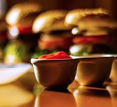 Mini Burgers With Meat, Vegetables, Cheese And Other Toppings, Bread Sprinkled With Sesame Seeds, Mi poster
