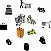 shopping illustrations and symbols set