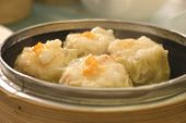 Chinese Sui Mai In Bamboo Steamer
