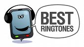 Cartoon mobile phone with headphones, best ringtones.