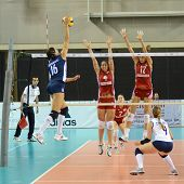 DEBRECEN, HUNGARY - JULY 8: Anita Filipovics (in red17) in action at a CEV European League woman's volleyball game Hungary (Red) vs Israel (Blue) on July 8, 2011 in Debrecen, Hungary.