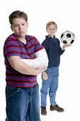 picture of sports injury  - Two brothers posing for a portait - JPG