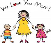 WE LOVE YOU MOM light skin tone family greeting (vector)