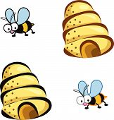 2 Bees And Hive Cartoon (Vector)