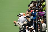 Photographers take pictures of Serena Williams USA in final game at the Bank of the West Classic