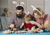 Easter, Mother, Father And Child In Bunny Ears poster