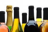 Close up of a group of wine and champagne bottles on a white background.