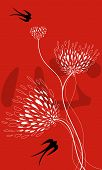 Lace Flowers, Swallows On Red (Vector)