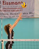 DEBRECEN, HUNGARY - JULY 9: Júlia Milovits (in black 18) in action a CEV European League woman's volleyball game Hungary (black) vs Israel (white) on July 9, 2011 in Debrecen, Hungary.