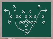 A Football Play On A Chalkboard.