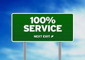 100% Service Road Sign
