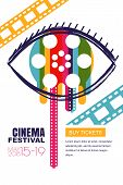 Vector Glowing Neon Cinema Festival Poster Or Banner Background. Colorful 3D Style Movie Camera With poster
