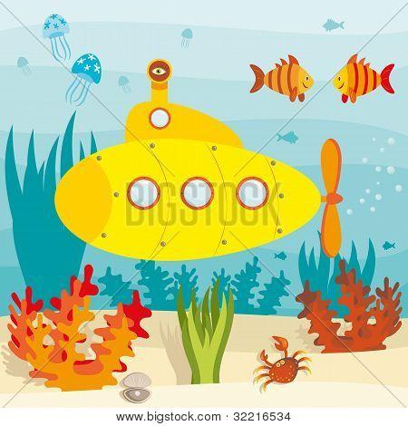 нарисованная подводная лодка