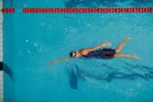 Young Woman Swimmer Getting Ready For Competition And Swim In Swimming Pool poster