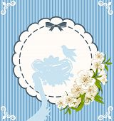 Eggs with lace ornaments and flowers. Easter card