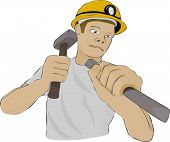 Builder or Miner works as a hammer and a chisel