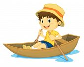 illustration of a young boy rowing a boat