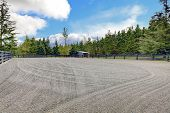 Horse Farm Riding Open Arena With Gravel.