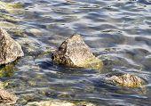 Jagged Rocks Along Shoreline