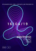 Trance Event. Curvy Concert Banner Concept. Dynamic Gradient Shape And Line. Neon Trance Event Flyer poster