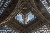 The Eiffel Tower, (looking Upwards), Is A Wrought-iron Lattice Tower On The Champ De Mars In Paris,  poster