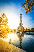 Paris Eiffel Tower And River Seine At Sunrise In Paris, France. Eiffel Tower Is One Of The Most Icon poster
