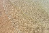 Sand Texture Created By Sea Waves On Beach Coast. Top View Of Sand Pattern Under Soft Waves. Sand Te poster