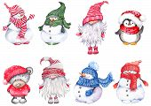 Set Of Christmas Cartoon Characters, Wearing Knitted Hats, Scarves And Mittens. Cute Snowmen, Teddy  poster